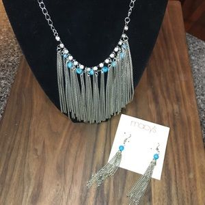 Silver & Turquoise Fringe Necklace/Earrings